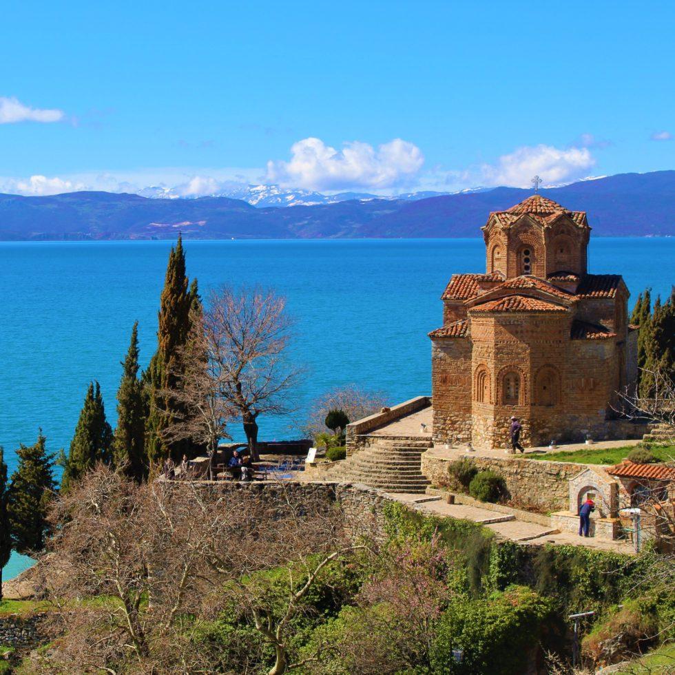 macedonia ohrid vista lago chiesa san kaneo